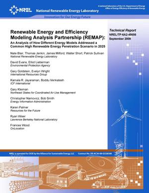 Primary view of object titled 'Renewable Energy and Efficiency Modeling Analysis Partnership: An Analysis of How Different Energy Models Addressed a Common High Renewable Energy Penetration Scenario in 2025'.