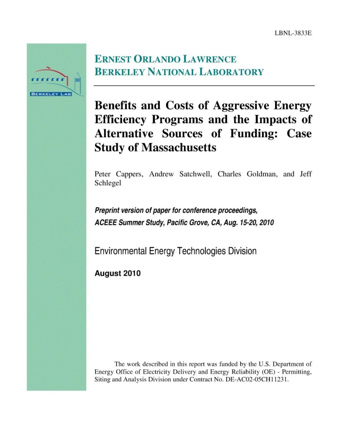 Benefits and Costs of Aggressive Energy Efficiency Programs and the