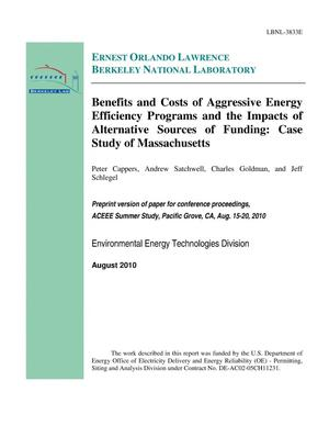 Primary view of object titled 'Benefits and Costs of Aggressive Energy Efficiency Programs and the Impacts of Alternative Sources of Funding: Case Study of Massachusetts'.
