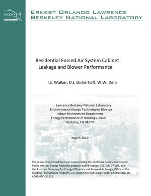 Primary view of object titled 'Residential Forced Air System Cabinet Leakage and Blower Performance'.