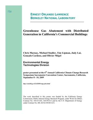 Primary view of object titled 'Greenhouse Gas Abatement with Distributed Generation in California's Commercial Buildings'.