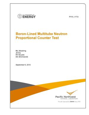 Primary view of object titled 'Boron-Lined Multitube Neutron Proportional Counter Test'.