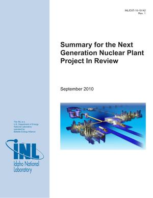 Primary view of object titled 'Summary for the Next Generation Nuclear Plant Project in Review'.