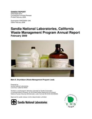 Primary view of object titled 'Sandia National Laboratories, California Waste Management Program annual report : February 2009.'.