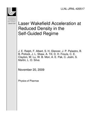Primary view of object titled 'Laser Wakefield Acceleration at Reduced Density in the Self-Guided Regime'.