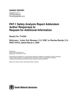 Primary view of object titled 'PAT-1 safety analysis report addendum author responses to request for additional information.'.