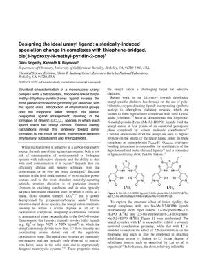 Primary view of object titled 'Designing the Ideal Uranyl Ligand: a Sterically-Induced Speciation Change in Complexes with Thiophene-Bridged Bis(3-hydroxy-N-methylpyridin-2-one)'.