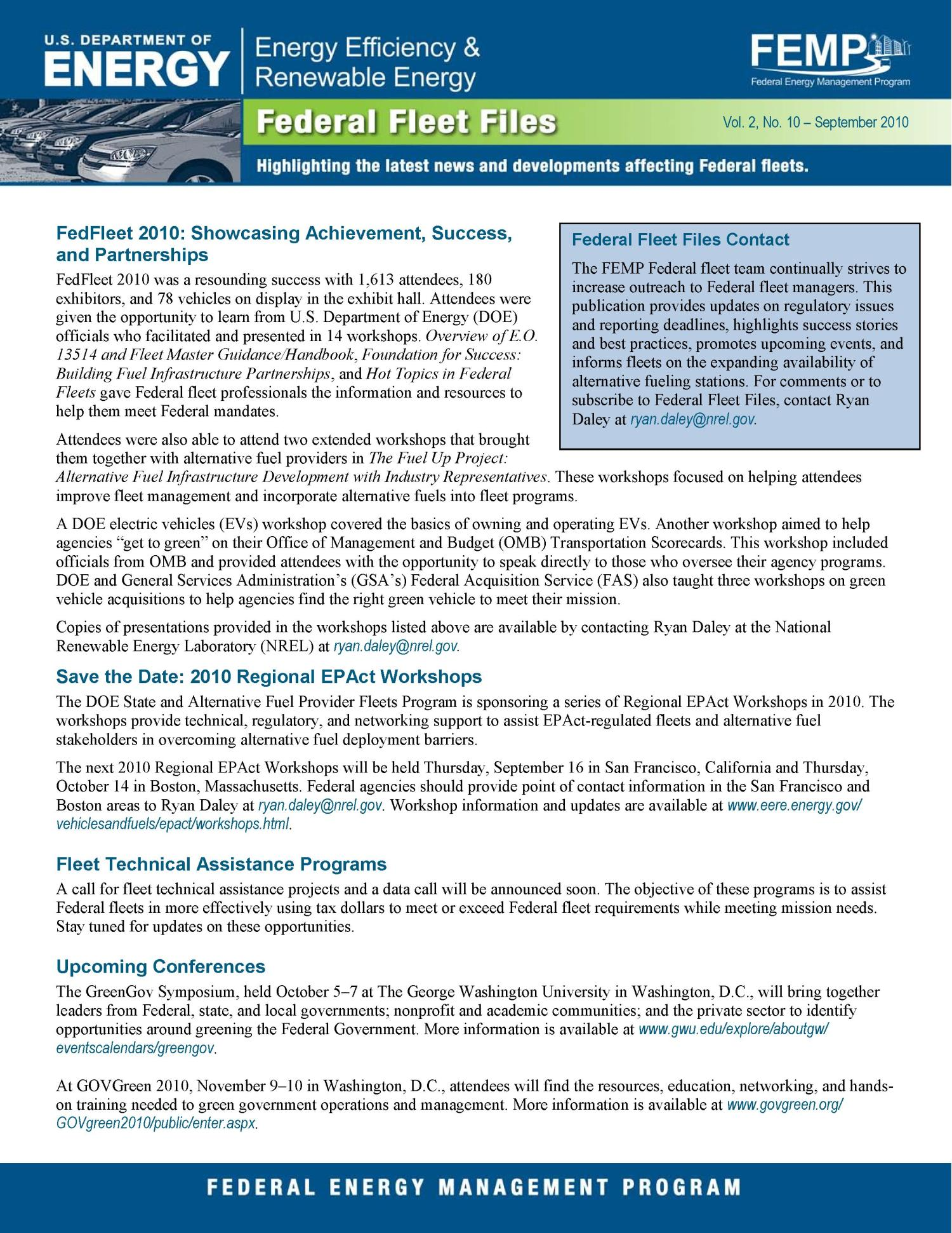 Federal Fleet Files, FEMP, Vol. 2, No. 10 - September 2010 (Fact Sheet)                                                                                                      [Sequence #]: 1 of 2