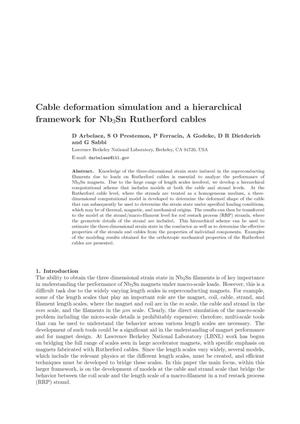 Primary view of object titled 'Cable deformation simulation and a hierarchical framework for Nb3Sn Rutherford cables'.