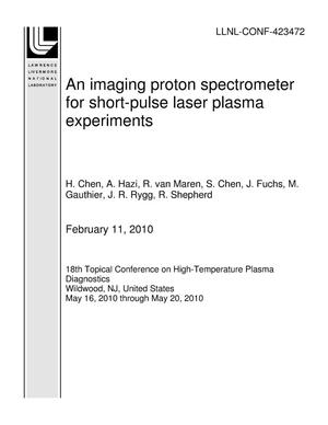 Primary view of object titled 'An imaging proton spectrometer for short-pulse laser plasma experiments'.