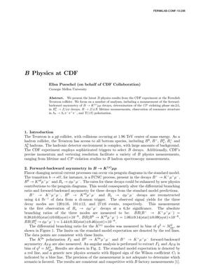 Primary view of object titled 'B Physics at CDF'.