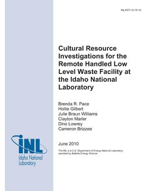 Primary view of object titled 'Cultural Resource Investigations for the Remote Handled Low Level Waste Facility at the Idaho National Laboratory'.