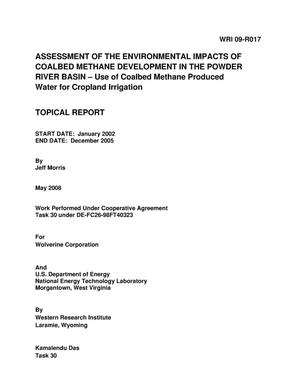 Primary view of object titled 'Assessment of the Environmental Impacts of Coalbed Methane Development in the Powder River Basin - Use of Coalbead Methane Produced Water for Cropland Irrigation'.