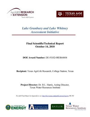 Primary view of object titled 'Lake Granbury and Lake Whitney Assessment Initiative Final Scientific/Technical Report Summary'.