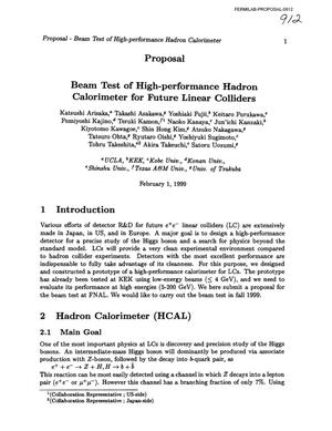 Primary view of object titled 'Beam Test of High-Performance Hadron Calorimeter for Future Linear Colliders'.