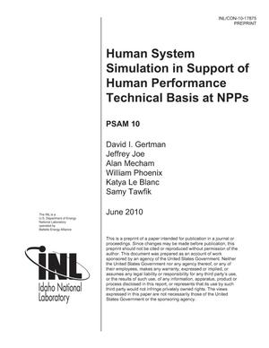 Primary view of object titled 'Human System Simulation in Support of Human Performance Technical Basis at NPPs'.
