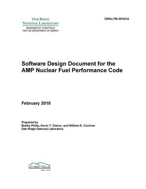 Primary view of object titled 'Software Design Document for the AMP Nuclear Fuel Performance Code'.