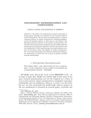 Primary view of object titled 'Exploratory Experimentation and Computation'.