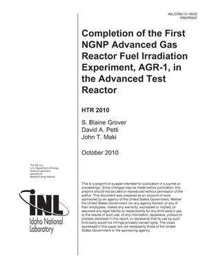 Primary view of object titled 'Completion of the first NGNP Advanced Gas Reactor Fuel Irradiation Experiment, AGR-1, in the Advanced Test Reactor'.
