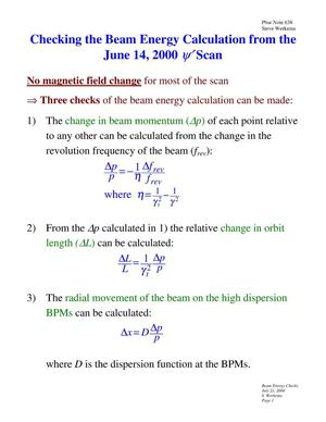 Primary view of object titled 'Checking the Beam Energy Calculation from the June 14, 2000 $\psi^\prime$ Scan'.