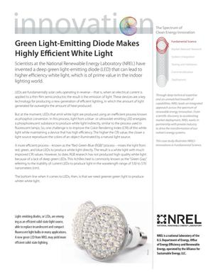 Primary view of object titled 'Green Light-Emitting Diode Makes Highly Efficient White Light; The Spectrum of Clean Energy Innovation (Fact Sheet)'.