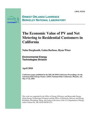 Primary view of object titled 'The Economic Value of PV and Net Metering to Residential Customers in California'.