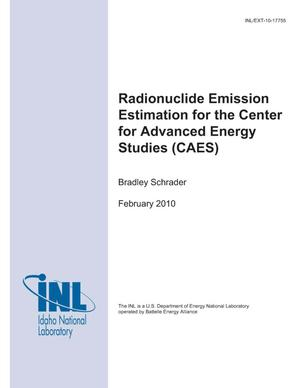 Primary view of object titled 'Radionuclide Emission Estimation for the Center for Advanced Energy Studies (CAES)'.
