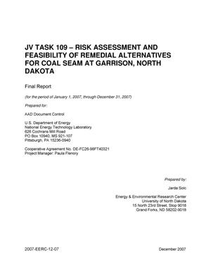 Primary view of object titled 'JV Task 109 - Risk Assessment and Feasibility of Remedial Alternatives for Coal Seam at Garrison, North Dakota'.
