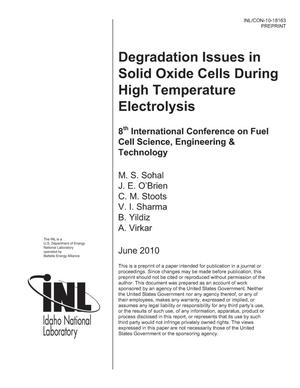Primary view of object titled 'DEGRADATION ISSUES IN SOLID OXIDE CELLS DURING HIGH TEMPERATURE ELECTROLYSIS'.