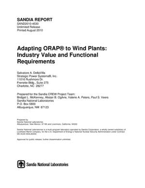 Primary view of object titled 'Adapting ORAP to wind plants : industry value and functional requirements.'.