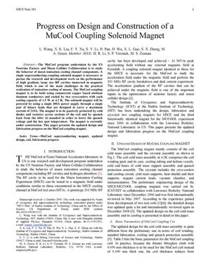 Primary view of object titled 'Progress on Design and Construction of a MuCool Coupling Solenoid Magnet'.