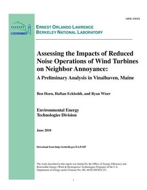 Primary view of object titled 'Assessing the Impacts of Reduced Noise Operations of Wind Turbines on Neighbor Annoyance: A Preliminary Analysis in Vinalhaven, Maine'.
