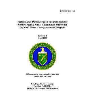 Primary view of object titled 'Performance Demonstration Program Plan for Nondestructive Assay of Drummed Wastes for  the TRU Waste Characterization Program'.