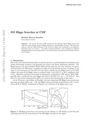 Primary view of object titled 'SM Higgs Searches at CDF'.