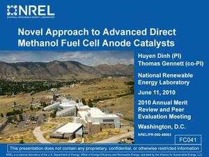 Primary view of object titled 'Novel Approach to Advanced Direct Methanol Fuel Cell Anode Catalysts (Presentation)'.