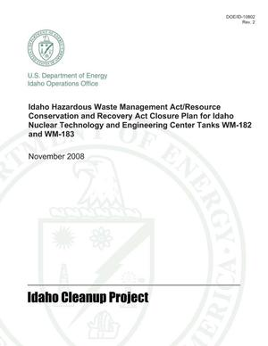 Primary view of object titled 'Idaho HWMA/RCRA Closure Plan for Idaho Nuclear Technology and Engineering Center Tanks WM-182 and WM-183 - Rev. 2'.