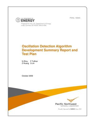 Primary view of object titled 'Oscillation Detection Algorithm Development Summary Report and Test Plan'.