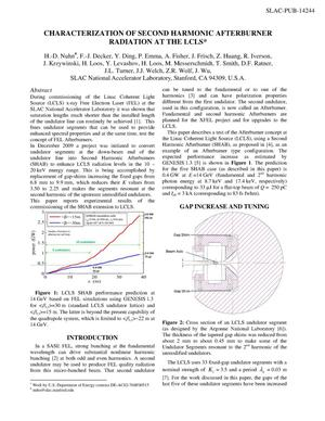 Primary view of object titled 'Characterization of Second Harmonic Afterburner Radiation at the LCLS'.