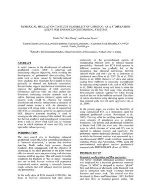 Primary view of object titled 'Numerical simulation to study the feasibility of using CO2 as a stimulation agent for enhanced geothermal systems'.