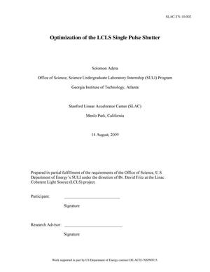 Primary view of object titled 'Optimization of the LCLS Single Pulse Shutter'.
