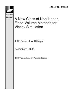 Primary view of object titled 'A New Class of Non-Linear, Finite-Volume Methods for Vlasov Simulation'.