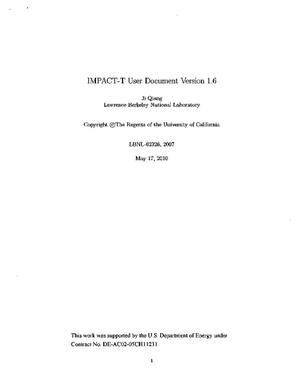 Primary view of object titled 'IMPACT-T User Document Version 1.6'.