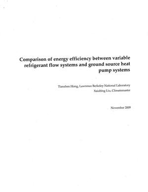 Primary view of object titled 'Comparison of energy efficiency between variable refrigerant flow systems and ground source heat pump systems'.
