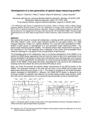 Primary view of object titled 'Development of a new generation of optical slope measuring profiler'.