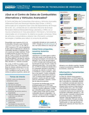 Primary view of object titled '?Que es el Centro de Datos de Combustibles Alternativos y Vehiculos Avanzados? (What Is the Alternative Fuels and Advanced Vehicles Data Center - AFDC?) (Fact Sheet)'.