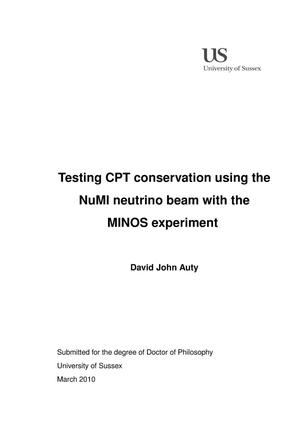 Primary view of object titled 'Testing CPT conservation using the NuMI neutrino beam with the MINOS experiment'.