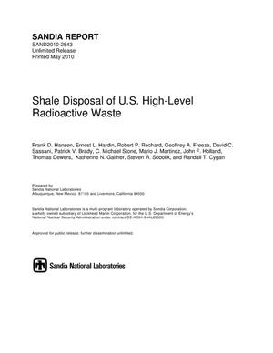 Primary view of object titled 'Shale disposal of U.S. high-level radioactive waste.'.
