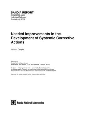 Primary view of object titled 'Needed improvements in the development of systemic corrective actions.'.