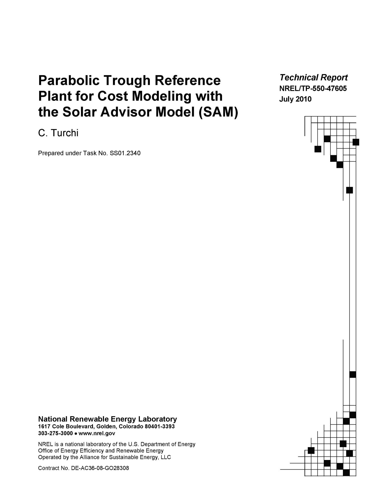 Parabolic Trough Reference Plant for Cost Modeling with the Solar Advisor Model (SAM)                                                                                                      [Sequence #]: 2 of 112
