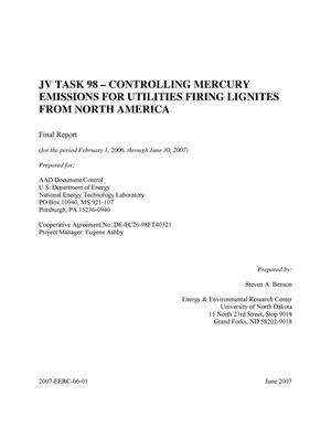 Primary view of object titled 'JV Task 98 - Controlling Mercury Emissions for Utilities Firing Lignites from North America'.